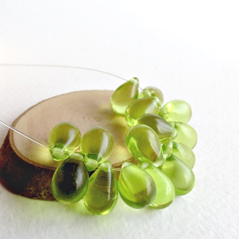20pcs Czech Glass Teardrop Beads for Jewelry Making Light Olive Green  6mm X 9mm