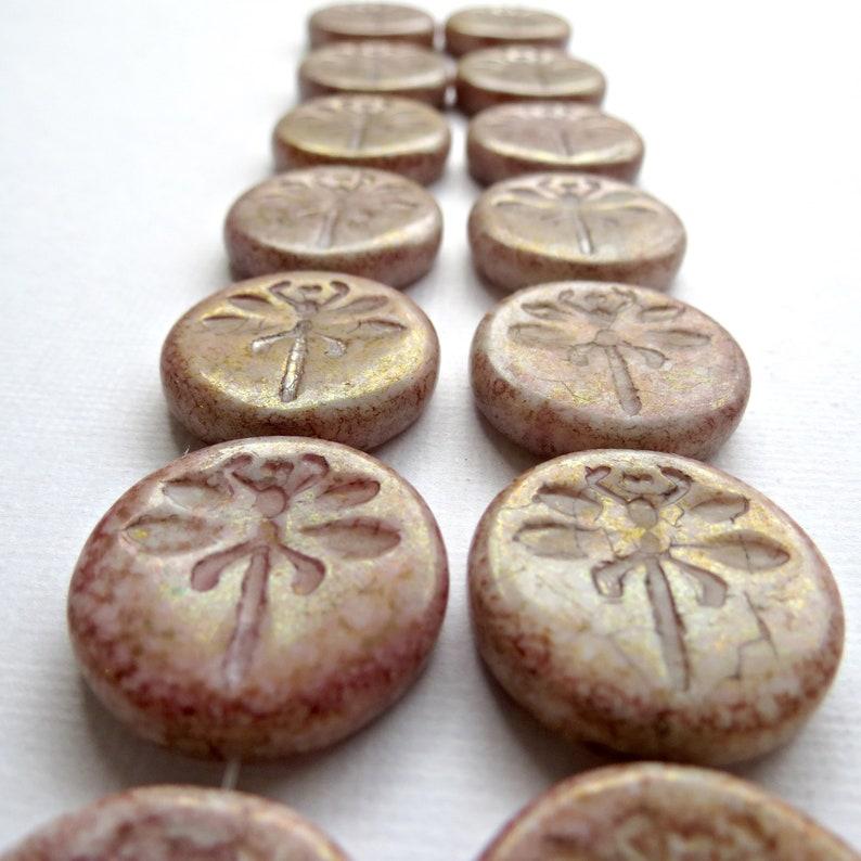 Czech Glass Beads BEADS BULK 10pcs of 23mm Dragonfly Beads Picasso Beads Dragonfly Coin Coin Beads