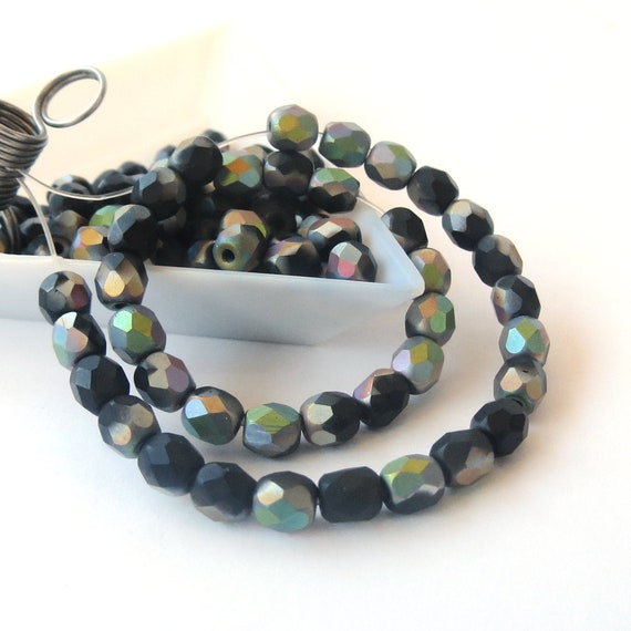 3mm Jet Black Czech Fire-Polished Faceted Round Glass Beads 60pcs Faceted Fire Polish Small Spacer