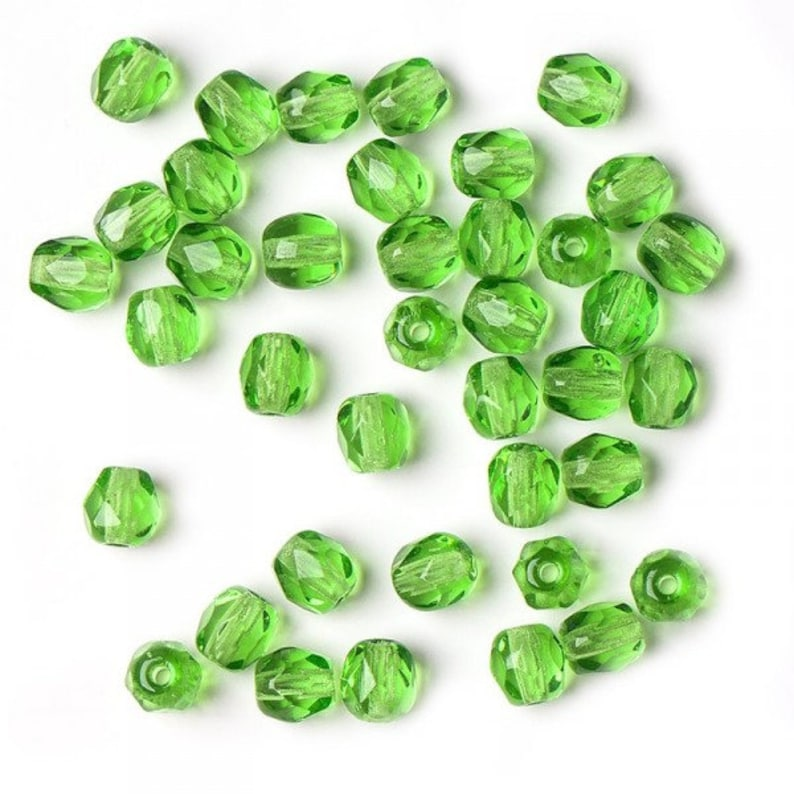 Green 4mm Czech fire-polished faceted glass beads round 60pcs faceted fire polish small spacer