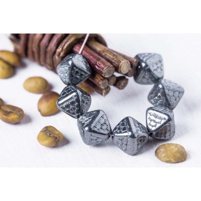Jet Hematite Black WHOLESALE 60 pcs 12mm Dragon Scale Bicone Czech Glass Beads for Jewelry Making