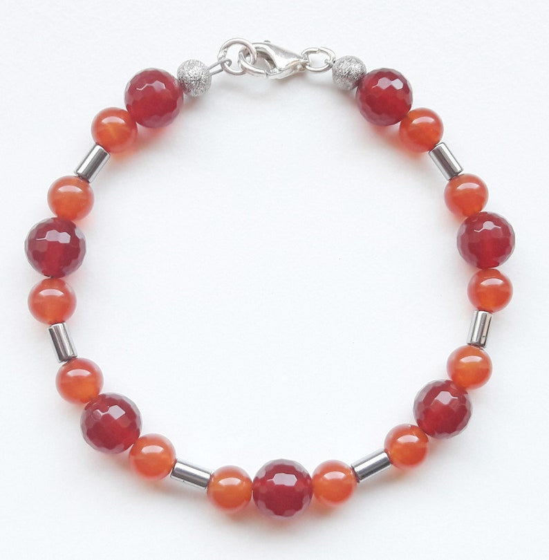 Gemstone bracelet bracelet bracelet faceted carnelian image 0