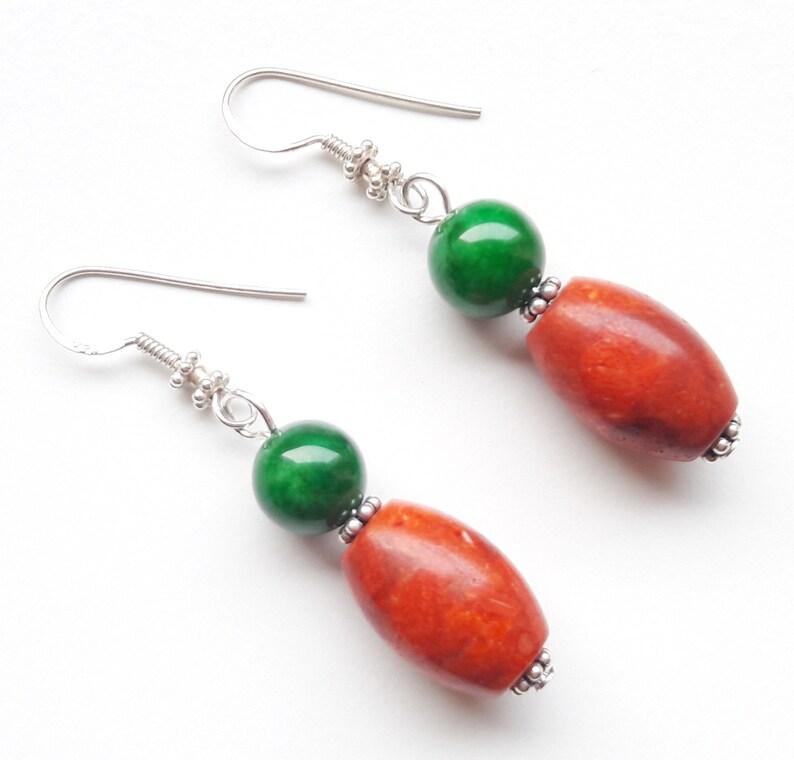 925 silver earrings earrings jade foam coral gift birthday image 0