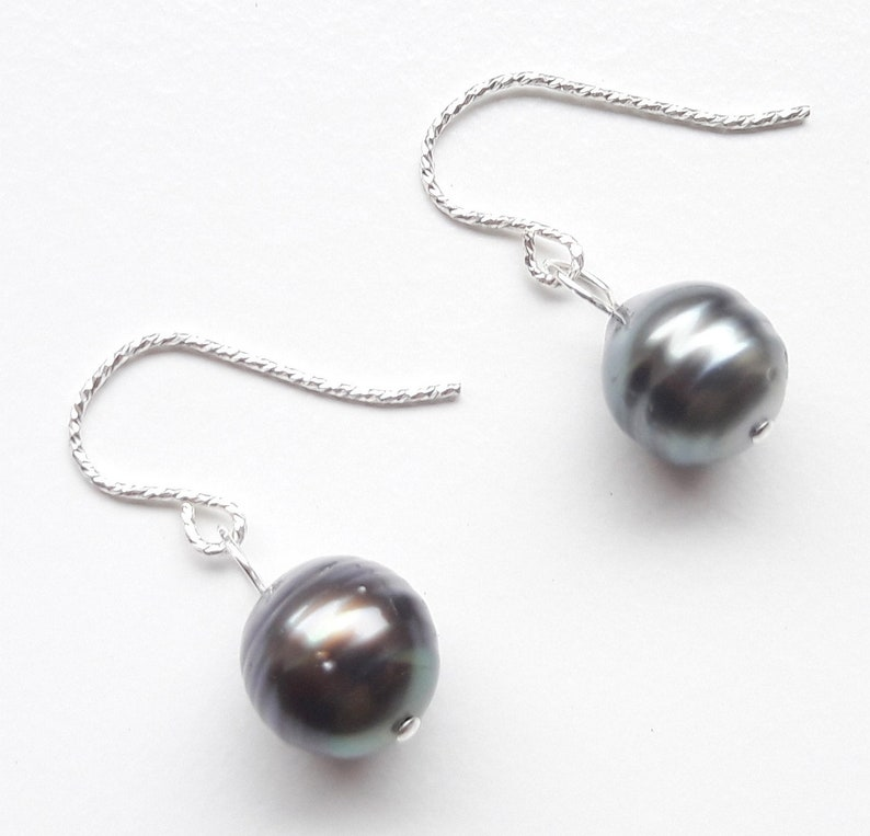 925 silver earrings earrings real Tahiti beads birthday gift image 0