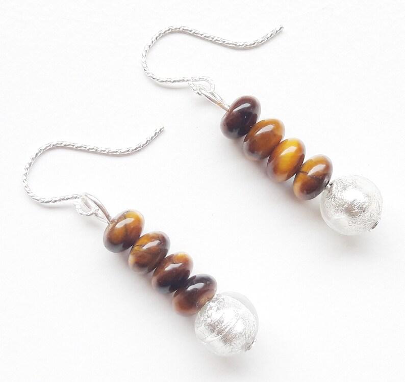 925 silver earrings earrings tiger eye silverfoil glass image 0