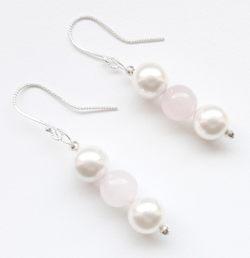 925 silver earrings earrings rose quartz shell seed beads image 0