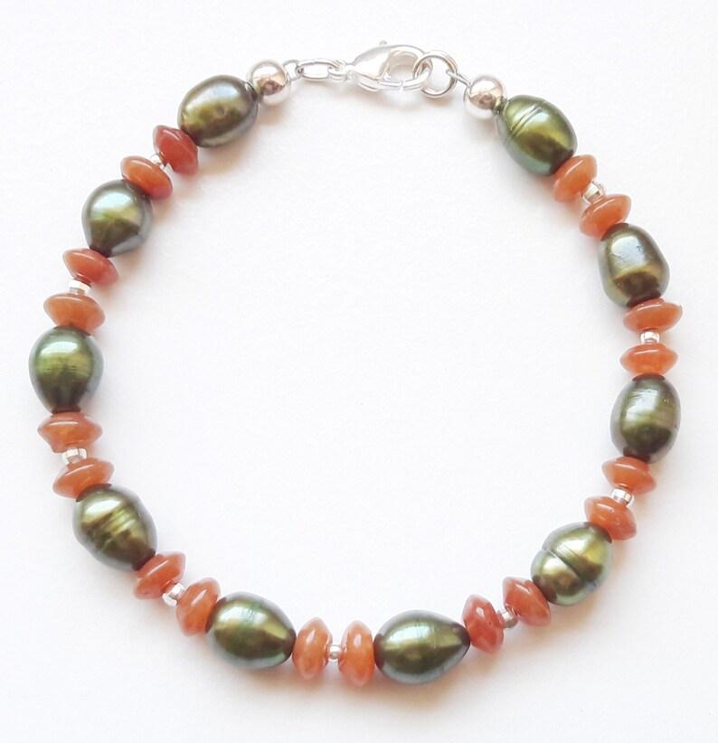 Gem bracelet red Aventurin freshwater bred pearls 925 silver image 0