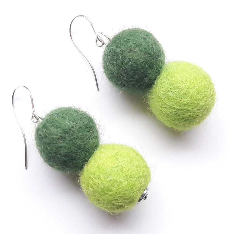 925 silver earrings earrings felt earrings dark green light image 0