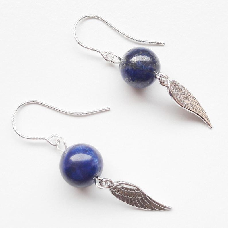 925 silver earrings earrings lapis lazuli 925 silver wings image 0