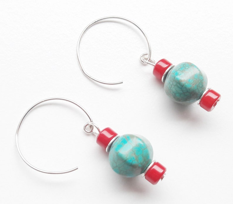 925 silver earrings hoop earrings turquoise bamboo coral image 0