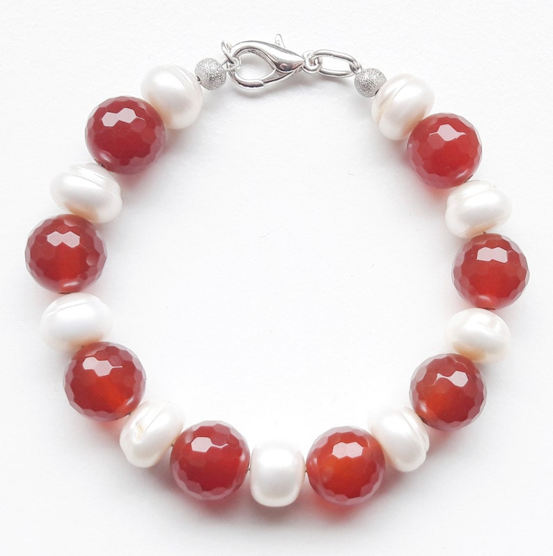Gemstone bracelet arm jewelry freshwater culture beads image 0