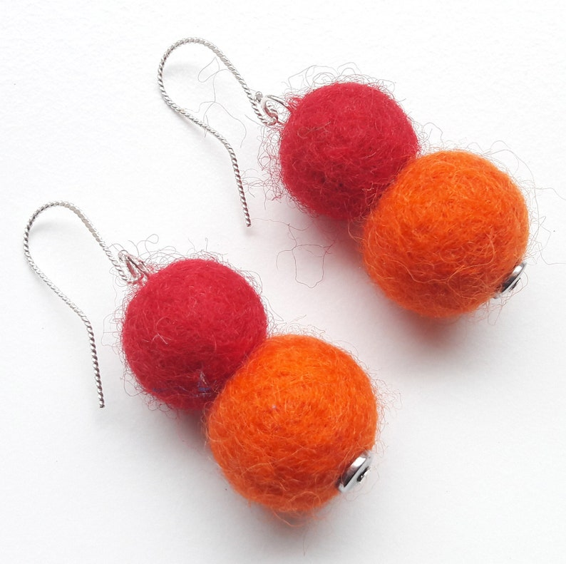 925 silver earrings earrings felt earrings red orange image 0