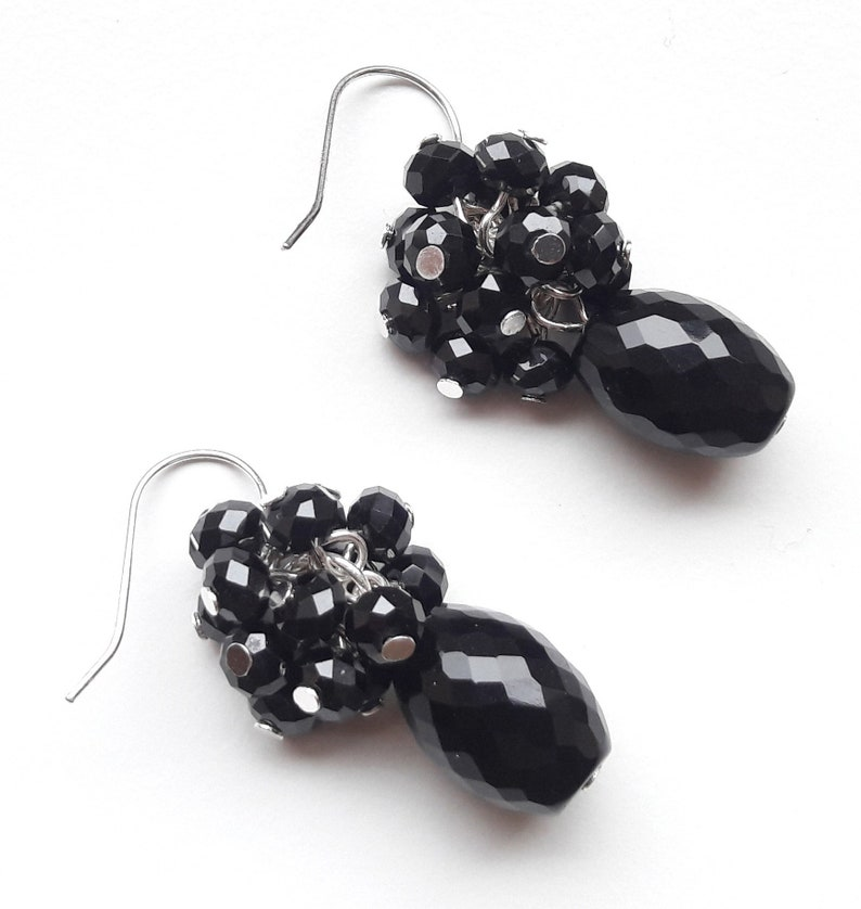 925 silver earrings earrings faceted onyx faceted spinel image 0