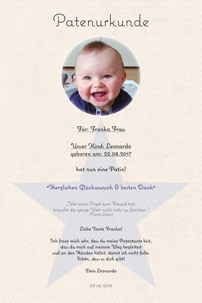 Godmother// Godfather//Godparent Card certificate Gift thank you Christening