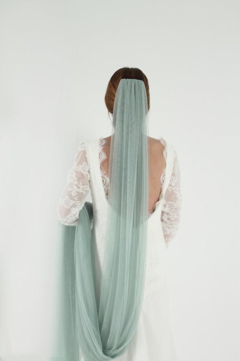 Veil green mint mint green wedding veil image 1