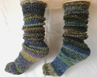 Hand knit women green Socks alpaca wool rustic woodland