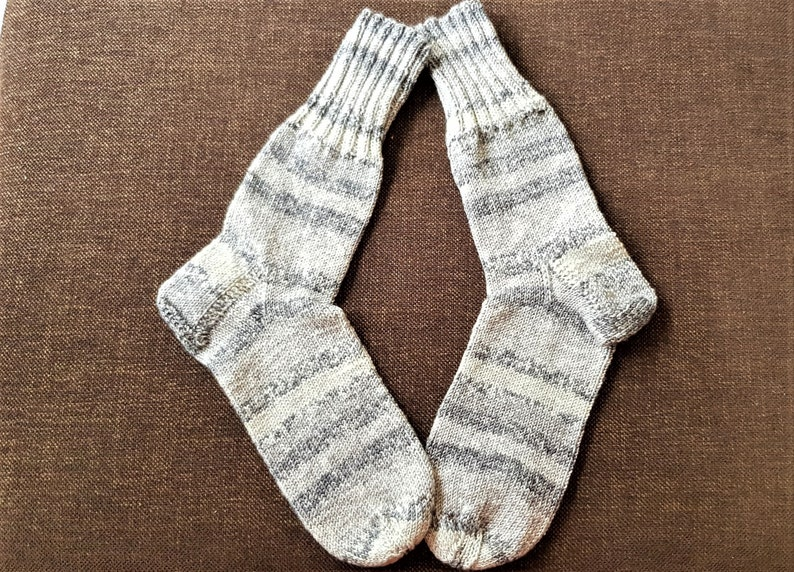 36 37 light grey grey silver colorful striped knitted socks