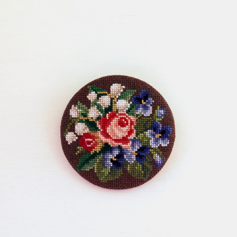 Fabric flower brooch pin Lily of the valley Violet Rose brooch mom gift from son
