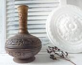 Antique vessel church altar incense, vase, bath jewelry bowl, carved, wood, handmade, decoration France country house, sacred bottle