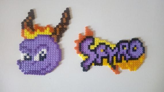 Spyro The Dragoon Head Logo Perler Beads Pixel Art