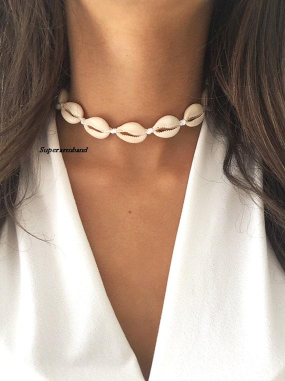 Choker choker necklace white shell choker white cowrie | Etsy