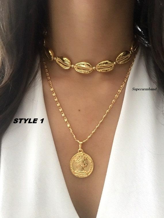 Deluxe II coin soporte medallón cadena colgante moneda collar Rose oro plata