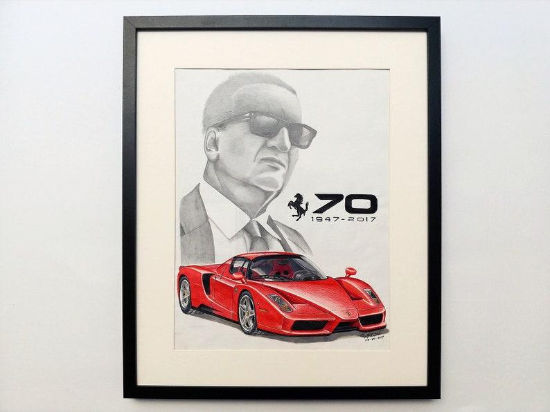 Verbazingwekkend Enzo Ferrari original hand drawing portrait with sport car on   Etsy DK-77