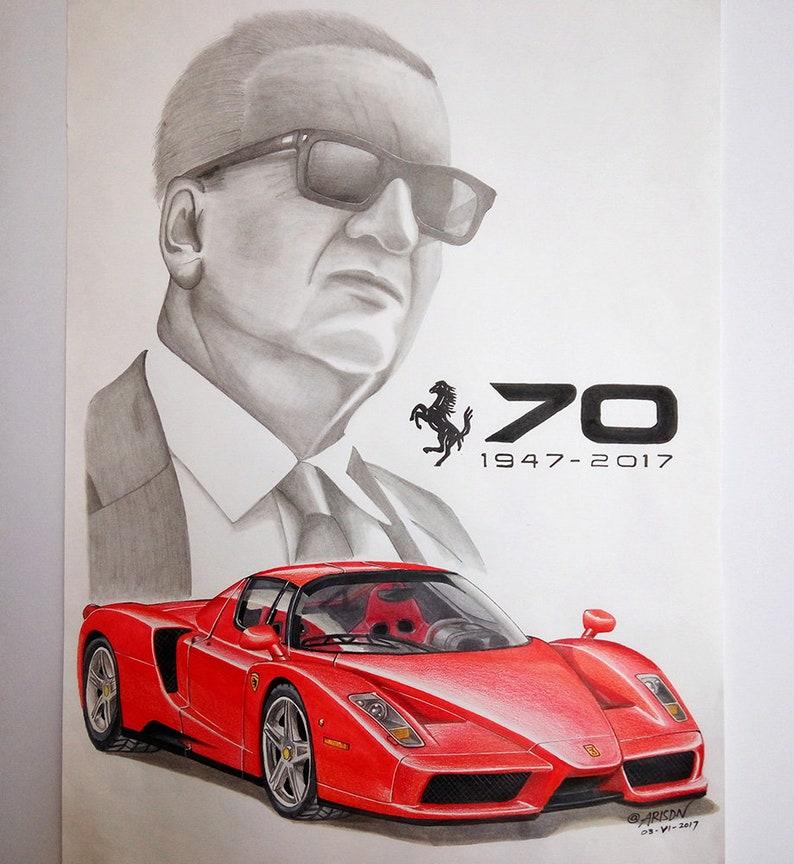 Super Enzo Ferrari original hand drawing portrait with sport car on   Etsy FM-64