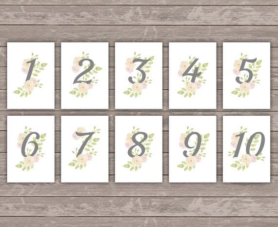Tischnummer 1-10 Floral Wedding 10,5x14,8cm Deko Tischkarte Vintage Hochzeit