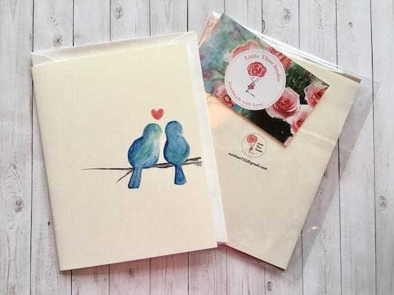bird card  happy life  sweet wedding card  engagement card  bird  blue  love  happy card