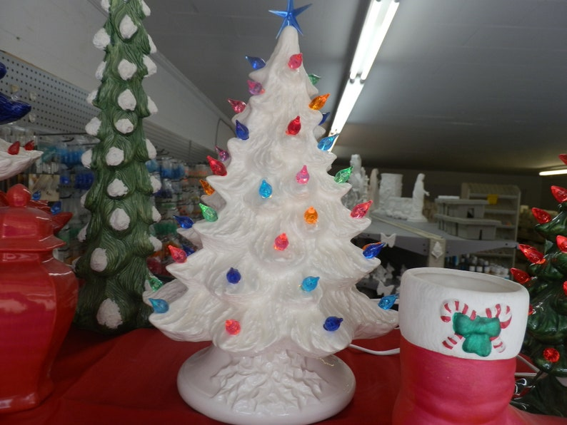 Hand Painted Ceramic Christmas Tree White Gloss Glazed With Lights Star