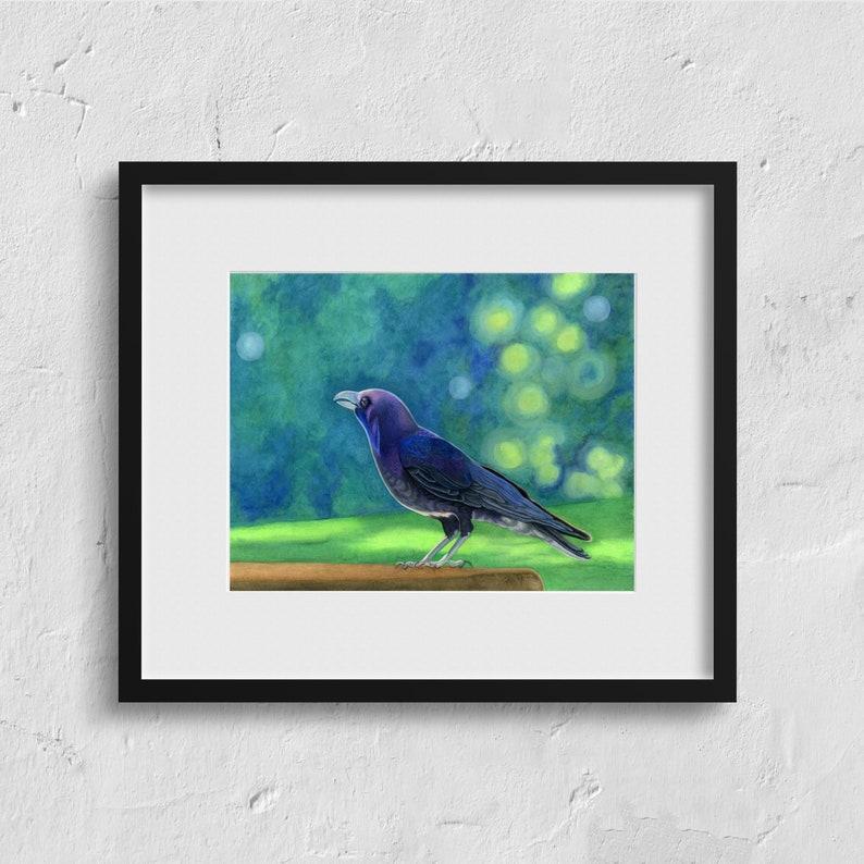 Seeing the magic  Giclee Fine Art Print crow art raven art image 0