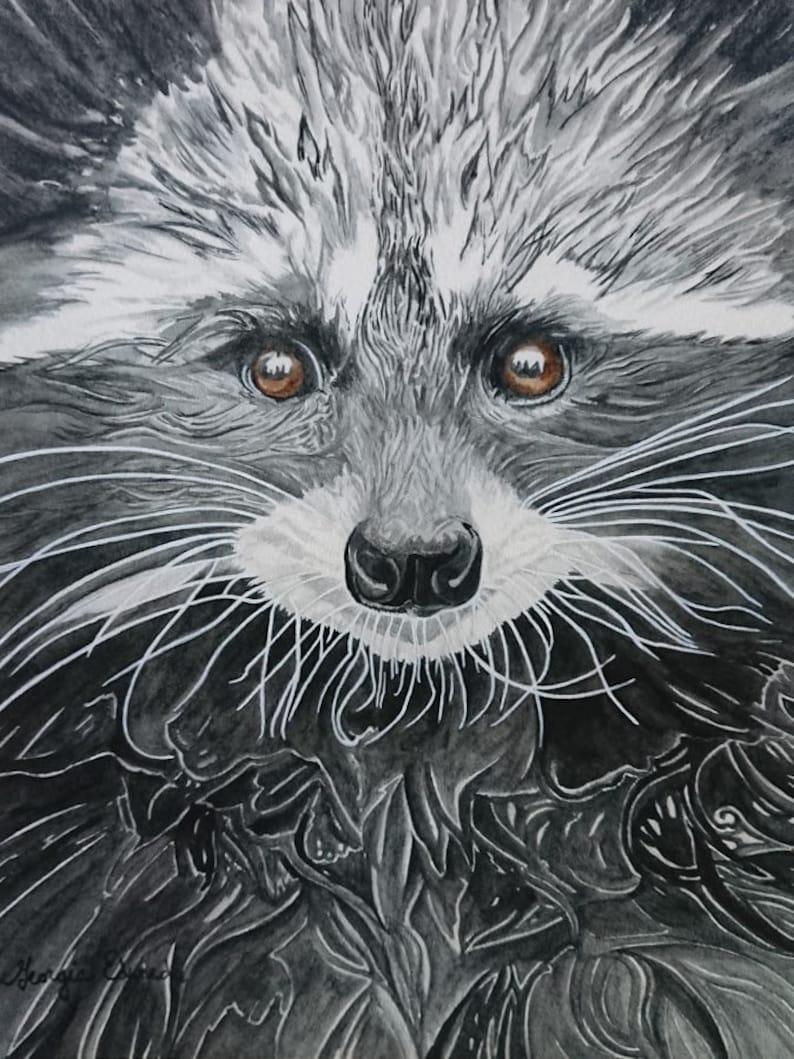 Bandit  racoon original art print / giclee racoon art image 0