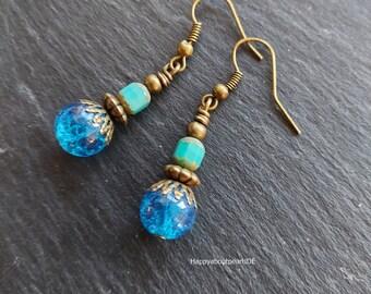 Earrings, blue bronze, Shabby style