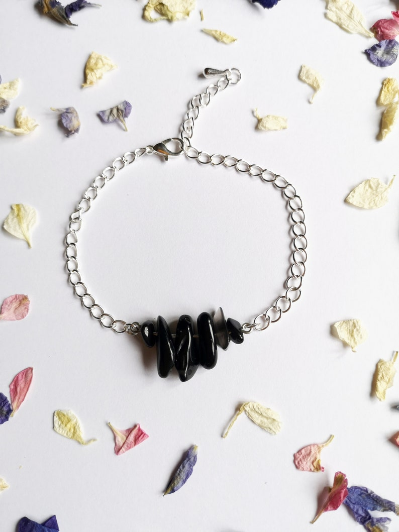 SALE  Reiki Charged Black Agate Crystal Charm Bracelet Grounding Healing Jewellery Jewelry Gift Gifts Uni size