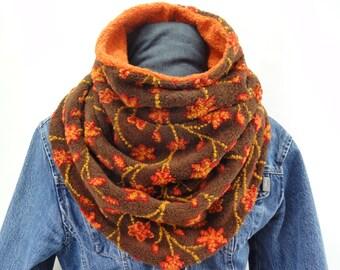 5b00b4f4b017f0 Winterschal, Fleeceschal, Schal mit Fleece in orange braun, OHNEwickeltuch