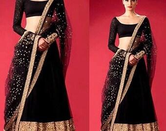 aeafaf22b6 Indian chaniya choli lehenga indian lehenga choli cotton maxi dress  designer lehenga choli gown black lehenga black indian dress