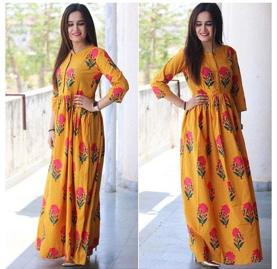 Indian Designer block printed cotton maxi dress lehenga choli  14fe8aac0