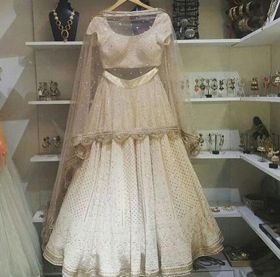 Indian Designer Bridal Lehenga Choli Suit Dress Cotton Maxi Dress Heavy Lehenga Salwar Suit Kameez Gown Heavy Party Wear Chikankari Lehenga