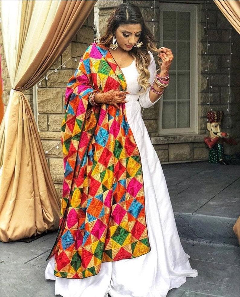3d16c86f40 Indian Anarkali phulkari suit gown lehenga choli salwar suit | Etsy