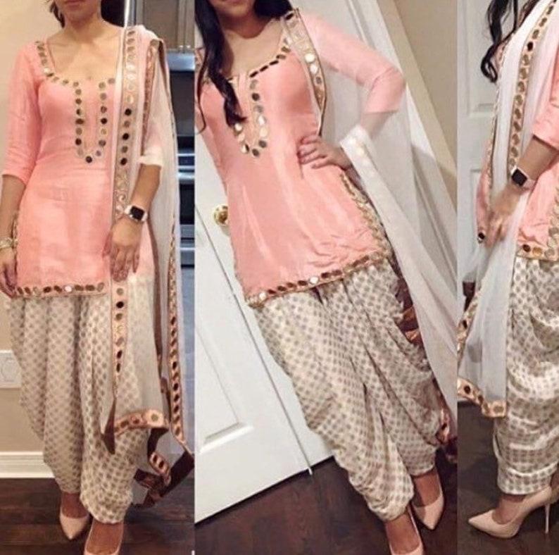 Bollywood Indian Pakistani Mirror Work Patiyala Suit Wedding Salwar Kameez Dress Clothing, Shoes & Accessories