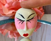 1950s Mardi Gras Mask Brooch, Pink Painted Mask, NOS, Figural Brooch, Face, Gifts for Her, Birthday, Mardi Gras Jewelry, Vintage Brooch