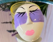 1950s Mardi Gras Mask Brooch, Lavender Painted Mask, NOS, Figural Brooch, Face, Gifts for Her, Birthday, Mardi Gras Jewelry, Vintage Brooch