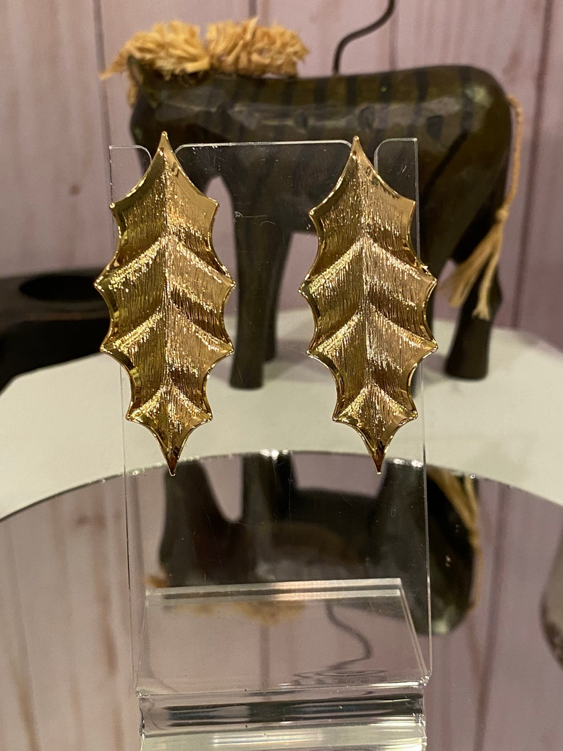 Egyptian Earrings Love Statement Earrings 1960s Cleopatra/'s Passion Textured Ivy Earrings Bridal Earrings Gifts for Her Birthday NOS
