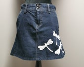 Upcycled Denim Dragonfly Skirt-Size 4