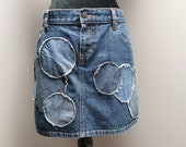 Upcycled Denim Skirt -Size 14