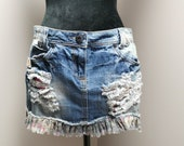 Upcycled Women 39 s Distressed Denim Skirt - Size 7