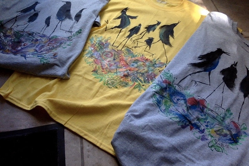 One of A Kind Hand-painted RavenCrow Family T-shirt