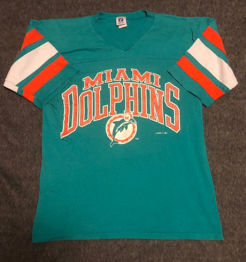 promo code 93266 f032d NFL 1980's/90's Miami Dolphins LOGO 7 Jersey T-Shirt 50/50