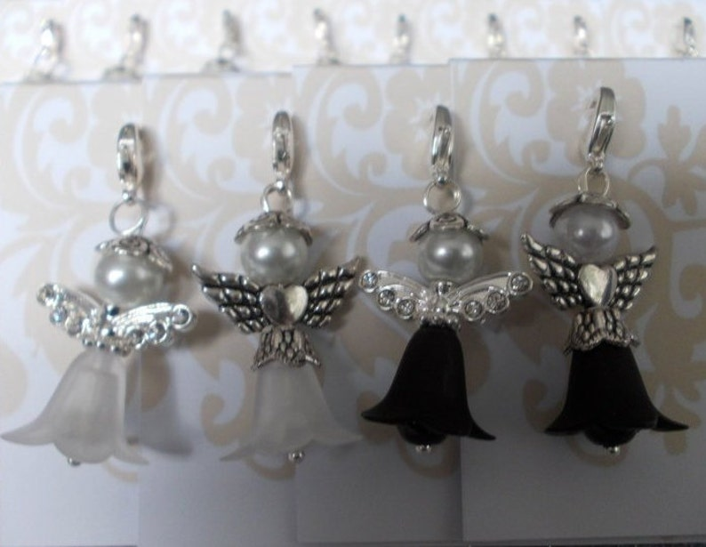 6 Guardian Angel flower elves black and white with zirconia /& heart wings